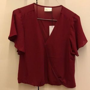 Wine colored short sleeve blouse